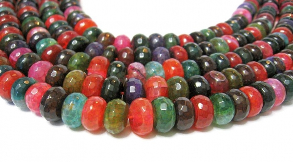 Achat Multicolor crash 10x6 mm Edelstein strang
